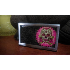 Pink Sugar Skull Business Card Case